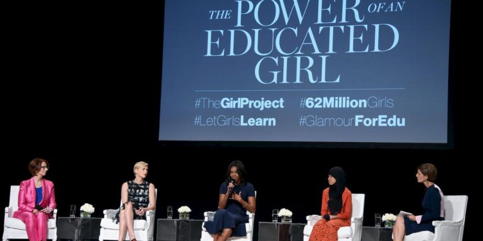 """Como parte del proyecto """"The Power of an Educated Girl"""" la primera dama estadounidense Michelle Obama dio un par de consejos a las jóvenes presentes. Foto:Getty Images"""