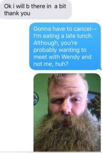 """Hasta que le dijo: """"Tienes que cancelar. Probablemente quieras verte con """"Wendy"""" y no conmigo. Llámame Wendy Barbuda"""". Foto:vía Imgur"""