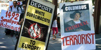 Por otro lado, también hubo una protesta en Los Ángeles, en contra de Cristobal Colón Foto:AFP