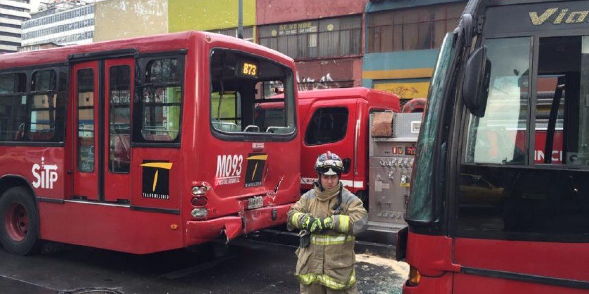Accidente en TransMilenio genera trancón en el centro de Bogotá