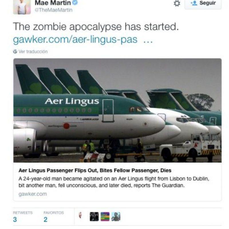 """""""El apocalipsis zombie ha iniciado"""", escribió el cantante Mae Martin Foto:Twitter.com"""