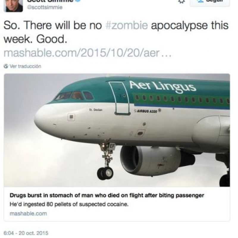"""Así que no habrá apocalipsis zombie"", dijo Scott Simmie, colaborador de medios como CBC y TheStar.com Foto:Twitter.com"