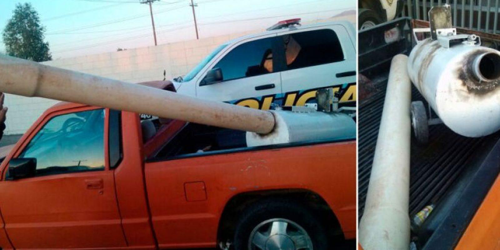 7. Un cañon improvisado que disparaba paquetes de droga. Se descubrió en Mexicali, México Foto:Seguridad Pública Mexicali