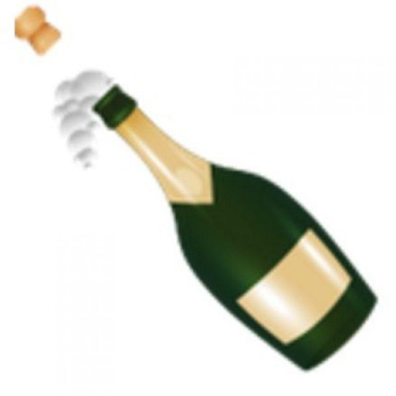 Botella de champagne descorchada. Foto:vía emojipedia.org