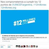 Además, envió un mensaje a UNICEF Argentina Foto:Twitter.com