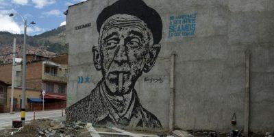 Mural de Fernando González; Calle 51 A con la carrera 29; Artista: Toxicómano;Técnica: Stencil Foto:Foto de Luis Gabriel Mesa Montoya.