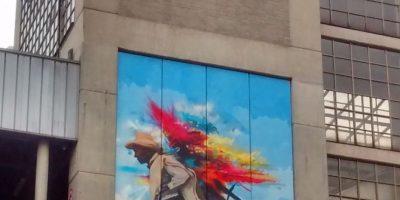 Intervención Silletero; Muro externo Suroriental Plazoleta San Antonio; Artista: Yurika; Técnica: Graffiti Foto:Foto de Luis Gabriel Mesa Montoya.