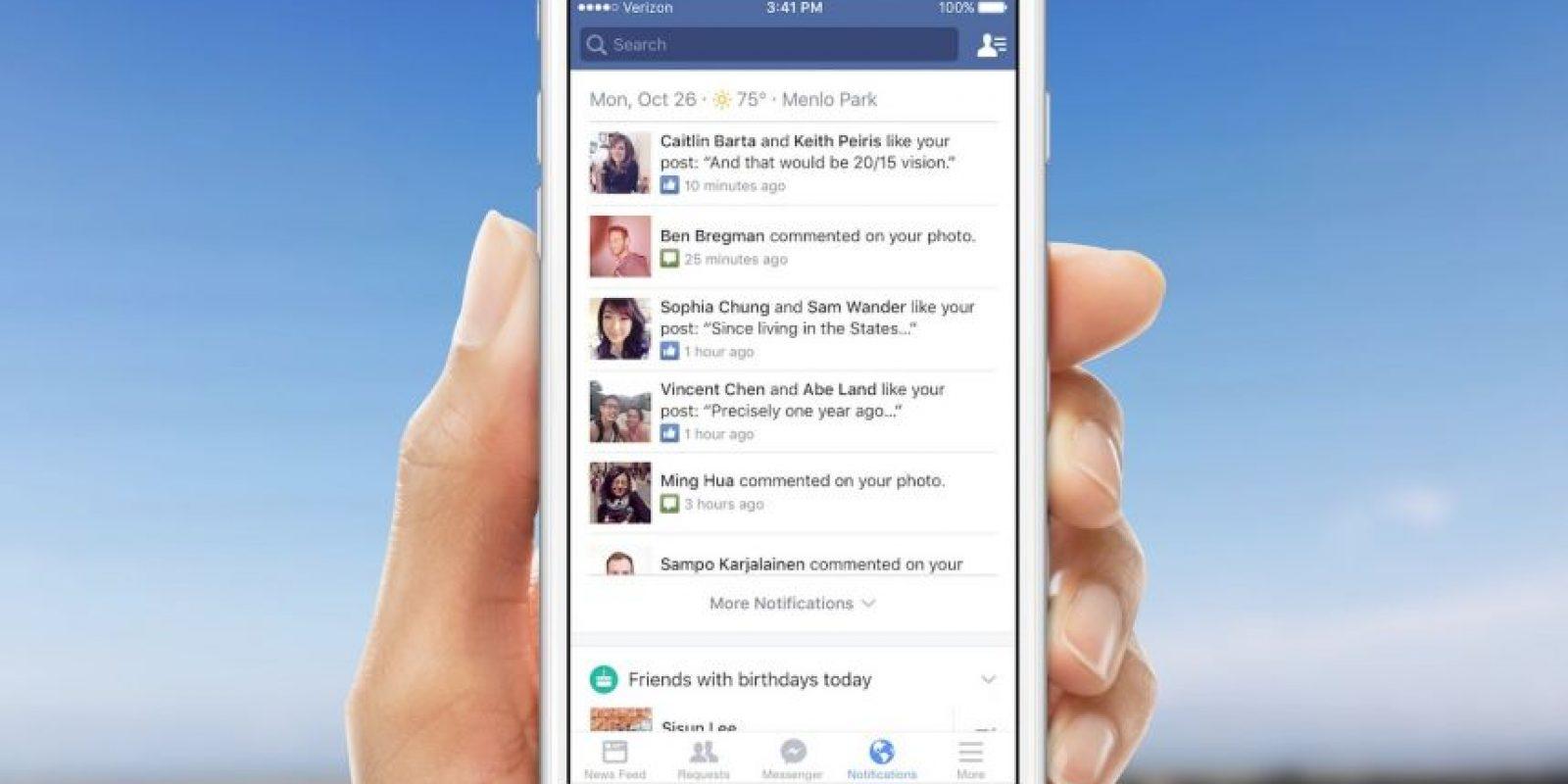 El menú de notificaciones tiene nuevas opciones. Foto:Facebook