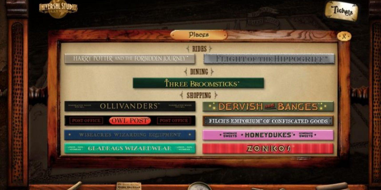 En el sitio web podrán encontrar la tienda de bromas de Zonko o la tienda de varitas de Ollivanders. Foto:www.wizardingworldhollywood.com