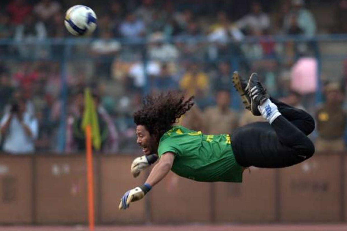 """El """"escorpión"""", que fue inventado por el colombiano René Higuita. Foto:AFP"""