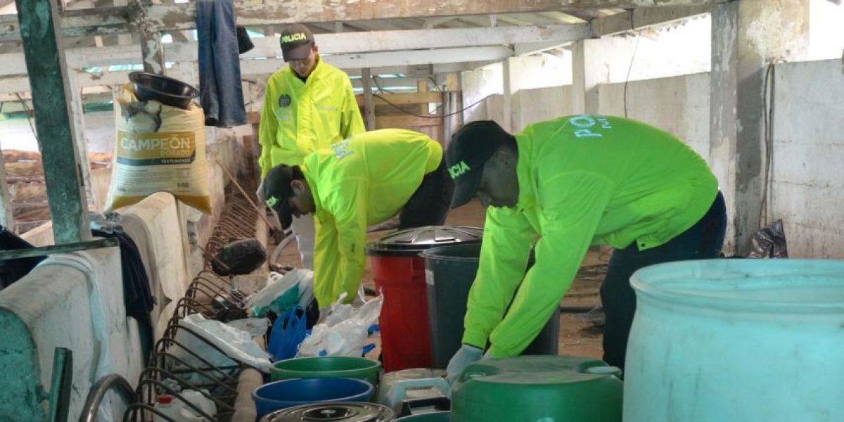 Desmantelado laboratorio para el procesamiento de clorhidrato de cocaína en Caldas