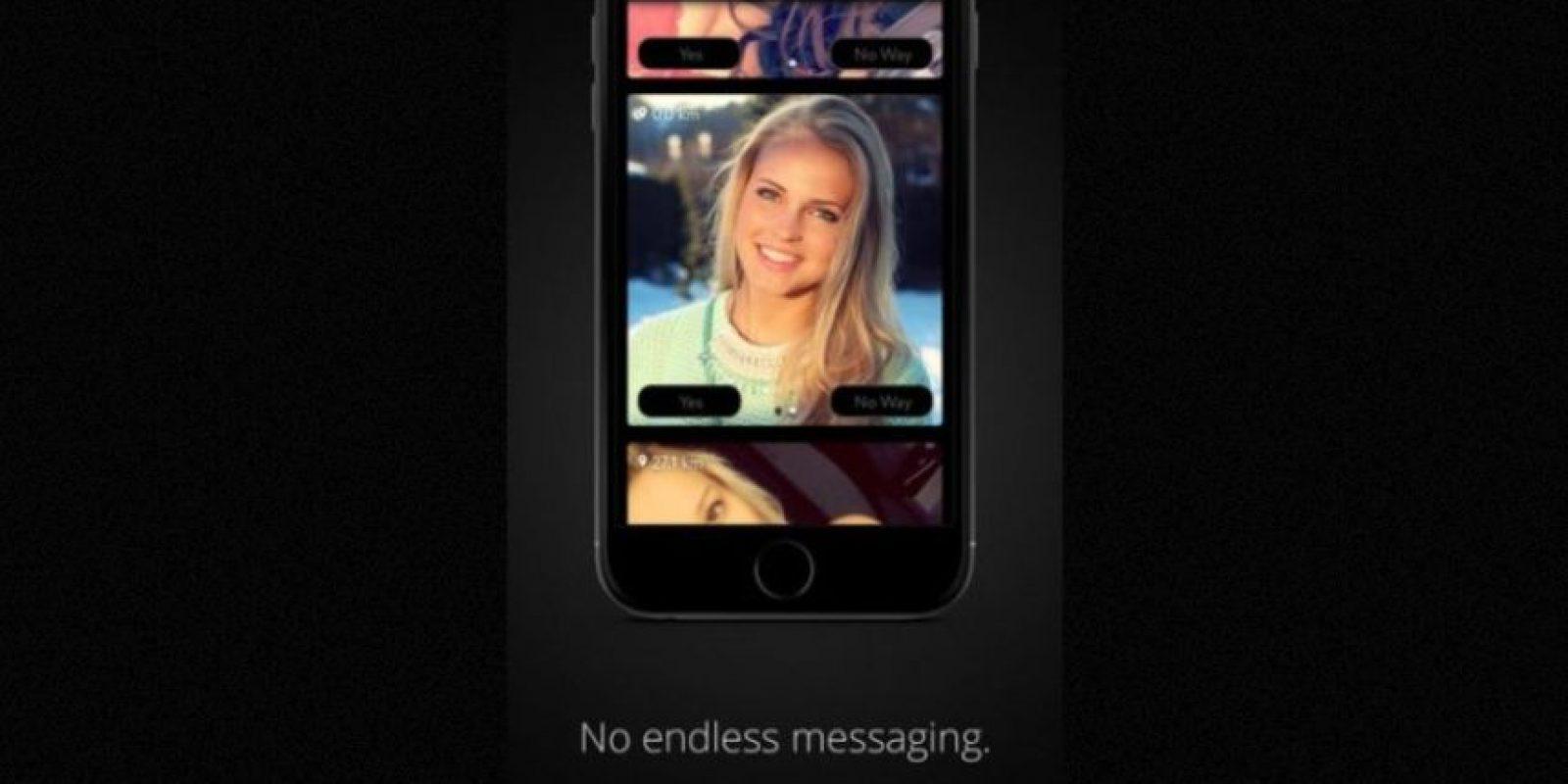 """""""Sin mensajes eternos"""". La app promete conectarlos con quien esté buscando tener sexo Foto:GetPure.org"""