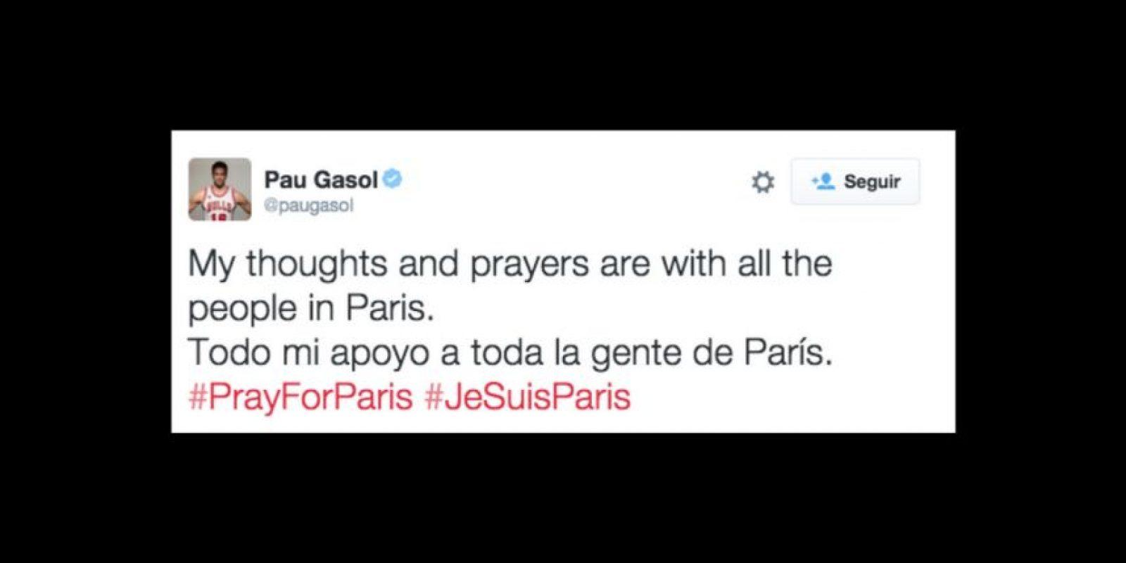 Pau Gasol: Todo mi apoyo a la gente de París. Foto:Vía twitter.com/paugasol