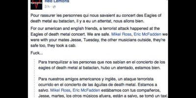 """La banda Red Lemons afirma que la banda """"Eagles of Death Metal"""" está segura. Foto:vía Facebook"""