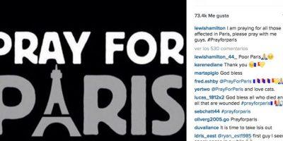 Lewis Hamilton: Estoy orando por todos los afectados en París. Por favor, oren conmigo muchachos. Foto:Vía instagram.com/lewishamilton