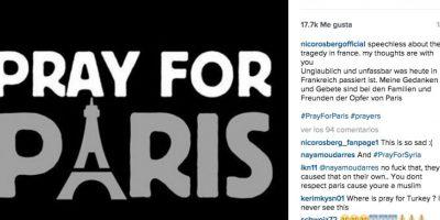 Nico Rosberg: Sin palabras por la tragedia en Francia. Mis pensamientos y oraciones están con las familias y amigos de las víctimas en París. Foto:Vía instagram.com/nicorosbergofficial