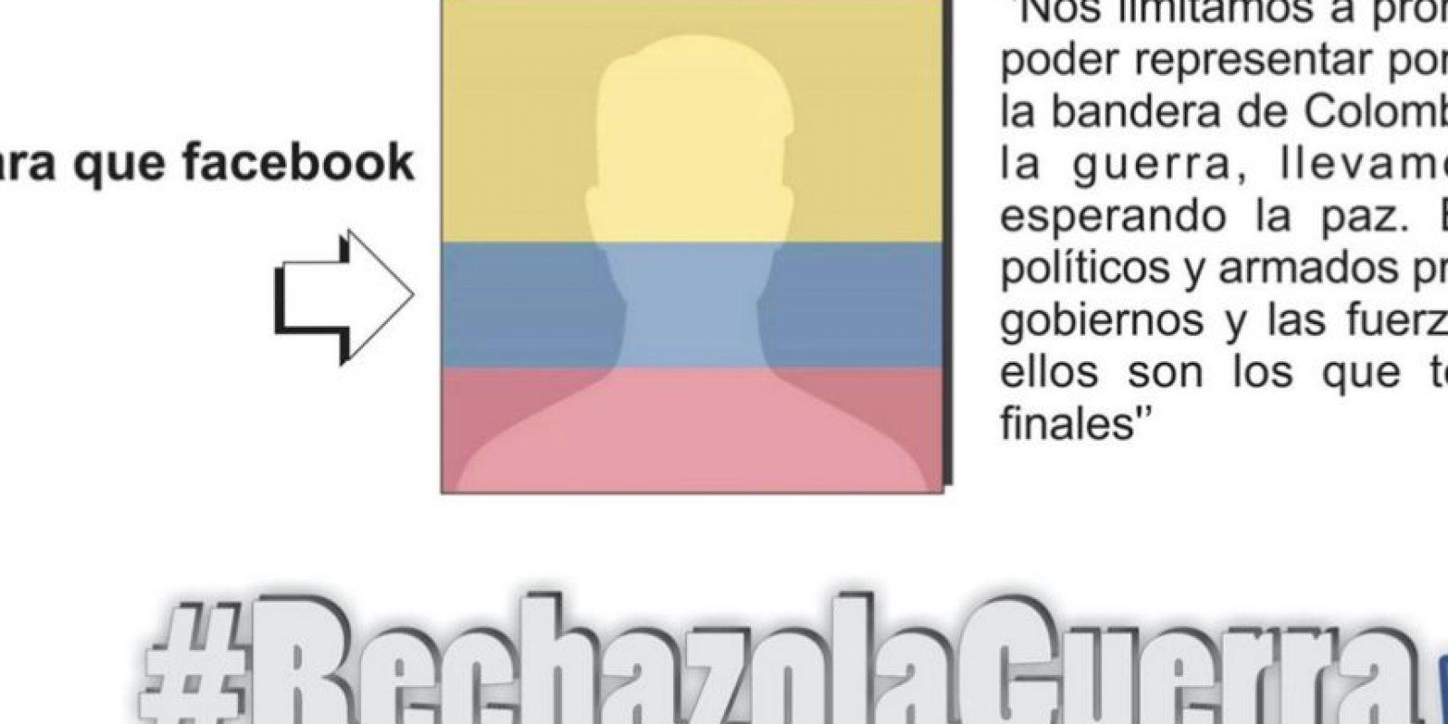 Piden filtro con bandera de Colombia para rechazar la guerra. Foto:Tomada de Facebook