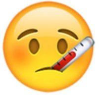 Rostro enfermo con termómetro. Foto:vía emojipedia.org