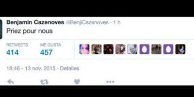 """""""Recen por nosotros"""", dijo. Foto:vía Twitter/Benjamin Cazenoves"""