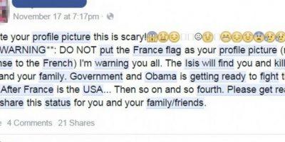 Este estado es el que se viraliza en Facebook advirtiendo que las personas que utilicen el filtro corren peligro.