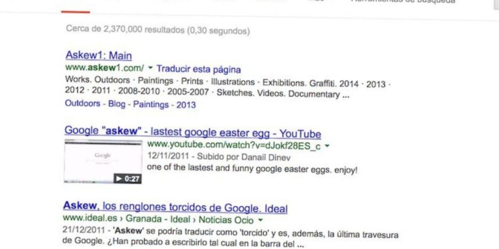 """Askew"" en Google. Foto:Google"