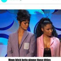 La barbadense no dejó de mirar el escote de la rapera, quien incluso compartió un meme sobre el momento. Foto:Getty Images