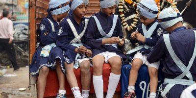 Procesión religiosa en Nueva Delhi, India. Foto:AFP