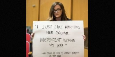 """""""Sólo me gusta verla retorcerse… 'Mujer independiente'… ¡Mi trasero!"""". Él le dijo a otras 5 personas en la habitación. Foto:Project Unbreakable"""