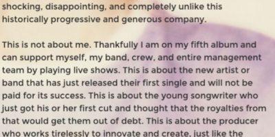 7.Taylor tiene una ética de trabajo invaluable. Le gusta luchar para que la gente que trabaja en la industria sea bien paga por su talento. Esto fue lo que le escribió a Apple. Foto:Tumblr/taylorswift