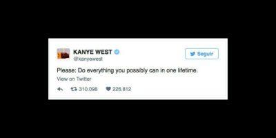 """""""Por favor: haz todo lo que sea posible en esta vida"""", fue el mensaje del rapero. Foto:vía twitter.com/kanyewest"""