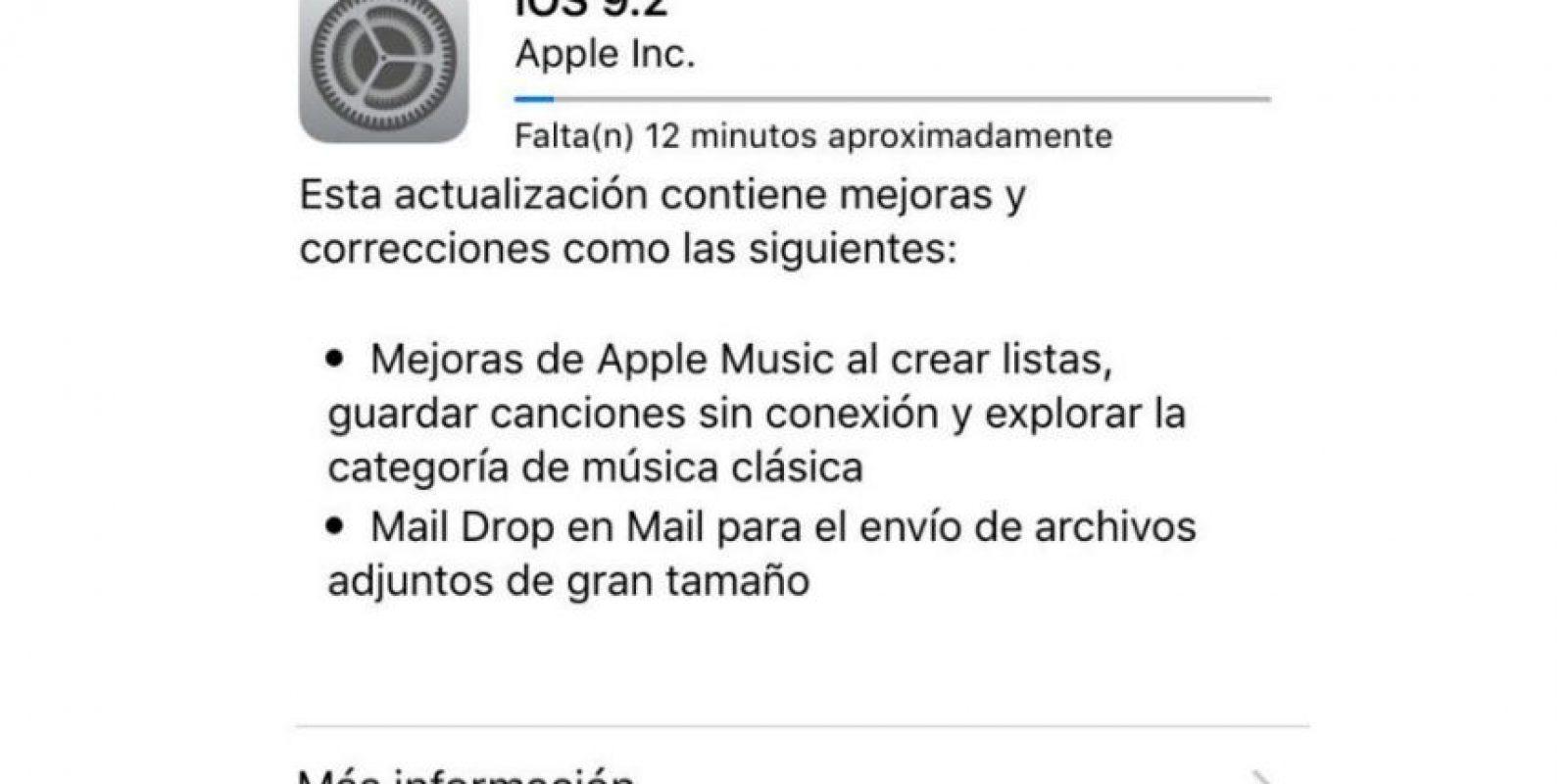 iOs 9.2 ya está disponible para dispositivos móviles de Apple. Foto:Apple