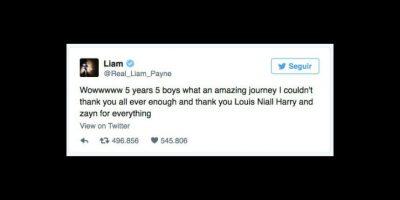 El británico agradeció por los cinco años que compartió con los otros integrantes de One Direction. Foto:vía twitter.com/liampayne
