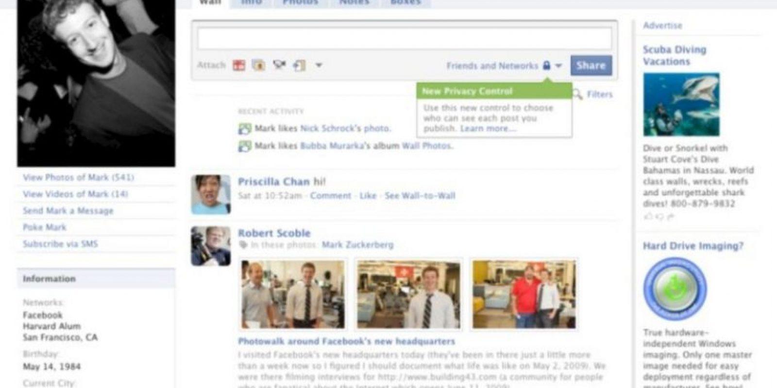 2009. Las configuraciones de privacidad llegaron para quedarse. Foto:vía Facebook.com