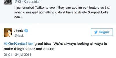 Alguna vez le dijo al fundador de Twitter que sería bueno editar los tuits, a lo que este respondió que era una gran idea. Falta ver si se implementa en verdad. Foto:vía Twitter