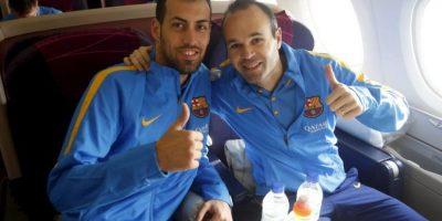 Aunque el español viajó con su compatriota Sergio Busquets. Foto:FC Barcelona