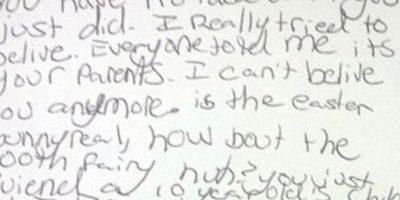 """Esta fue su primera carta: """"Ustedes no tienen idea de lo que hicieron. Realmente todos me decían que Santa eran mis padres pero yo no lo creía"""". Foto:Vía Facebook/nicki.adamsmorton"""