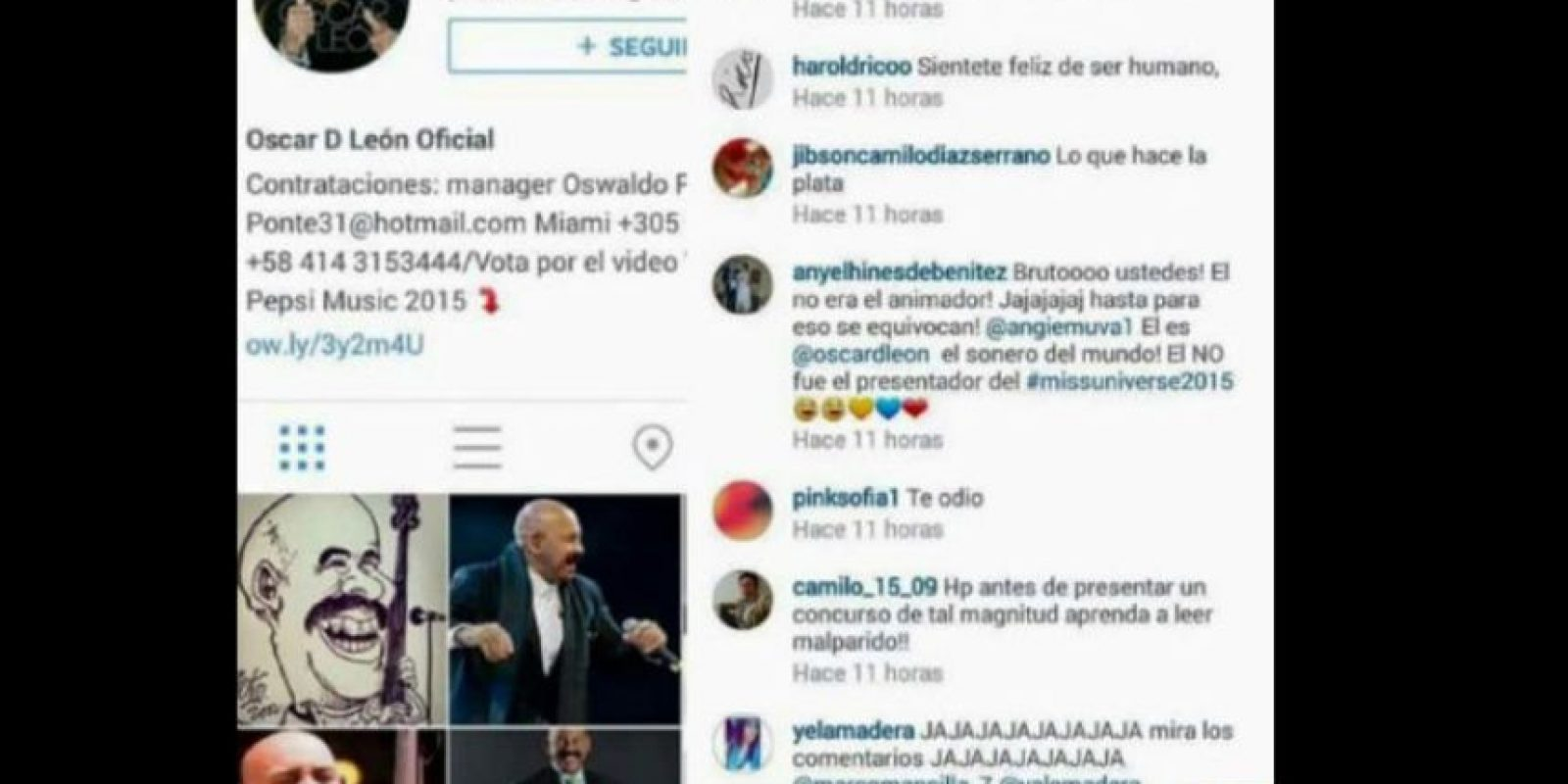 Así que se pusieron a insultar al cantante en Instagram. Foto:vía Instagram/oscardleonoficial