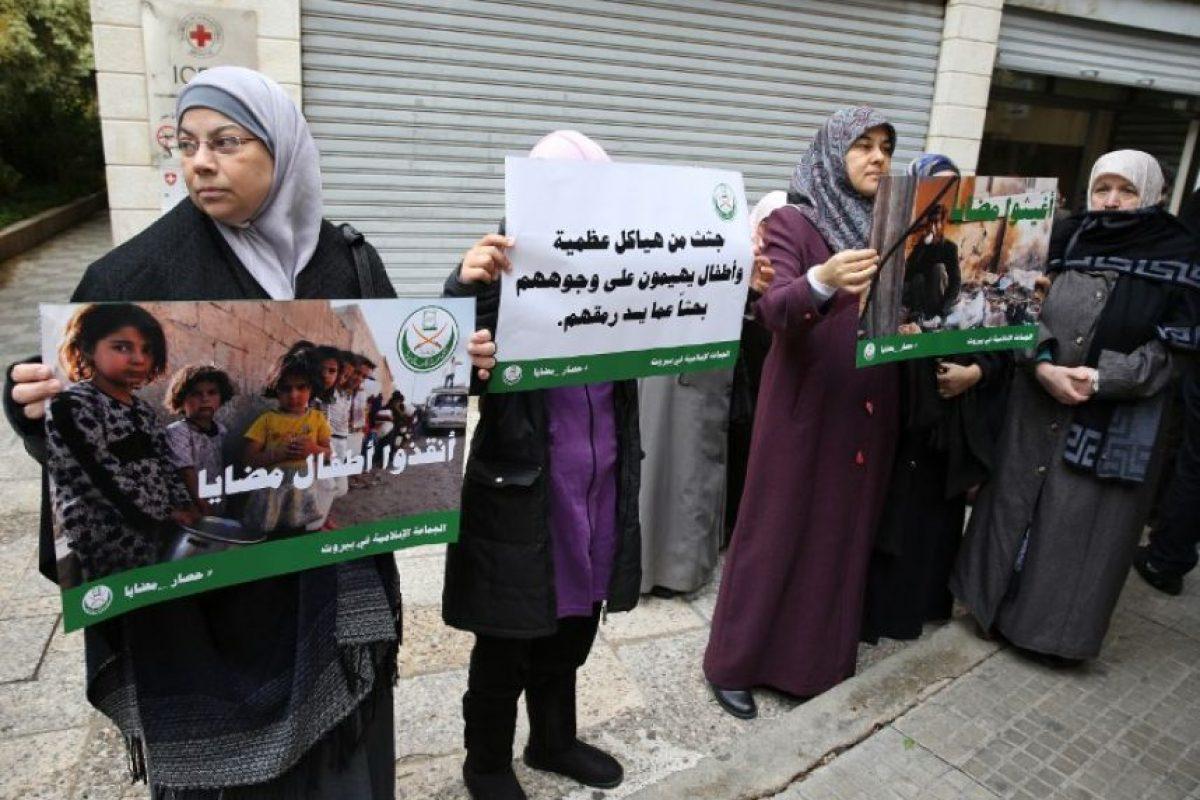 Los vecinos de Líbano se manifiestan buscando ayuda para los ciudadanos de Madaya. Foto:AFP
