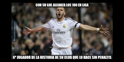 Karim Benzema marcó un doblete y llegó a la barrera de los 100 goles. Foto:memedeportes.com