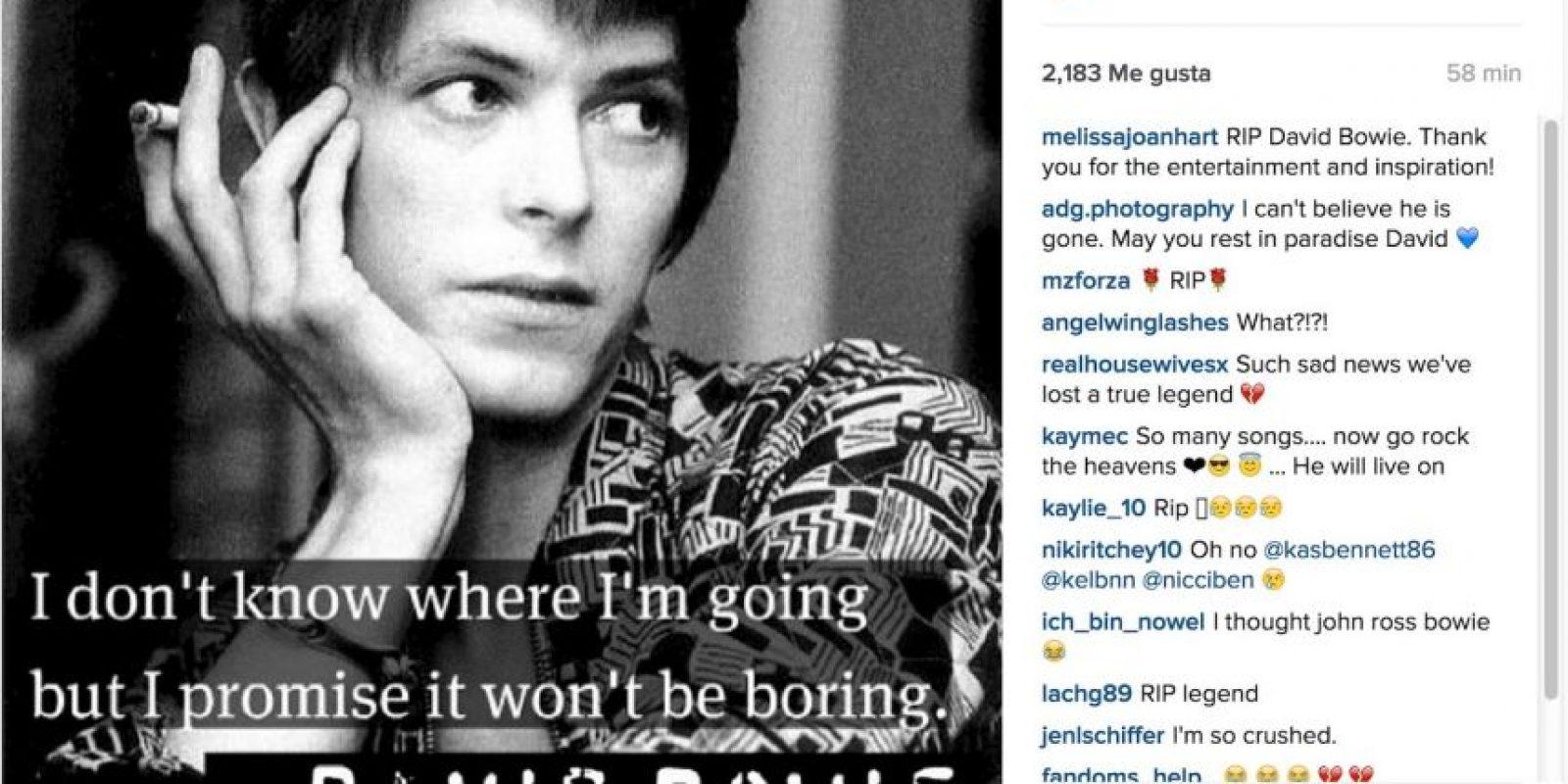 """Melissa Joan Hart: """"Descansa en Paz David Bowie. Gracias por tu entretenimiento e inspiración"""". Foto:Instagram.com"""