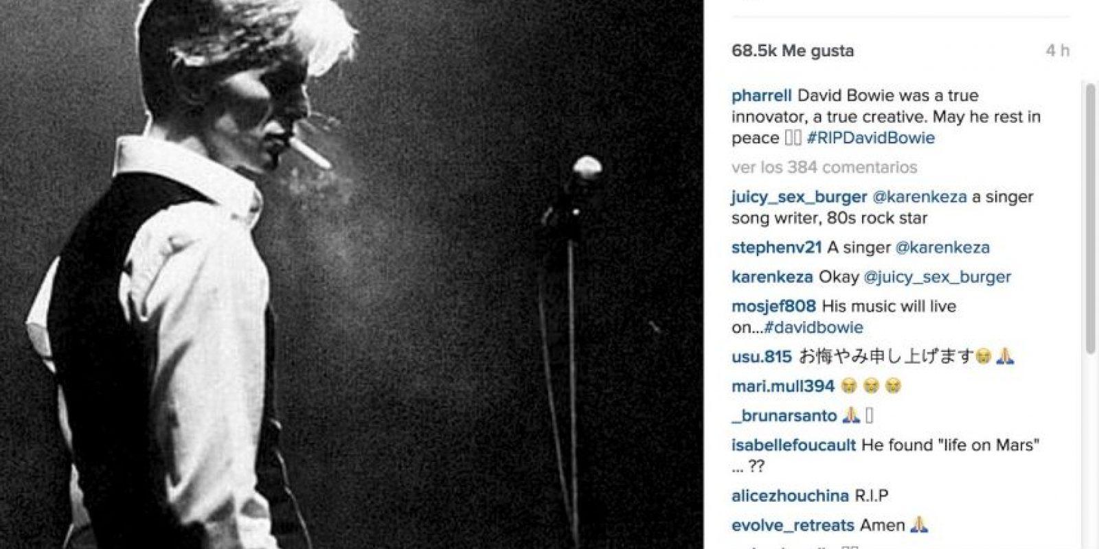 "Pharrell Williams: ""David fue un verdadero innovador, un verdadero creativo. Que descanse en paz"". Foto:Instagram.com"