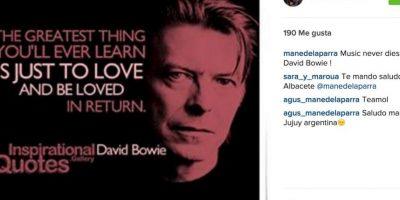 """Mane de la Parra: """"La música nunca muere. Descanse en paz, David Bowie"""". Foto:Instagram.com"""