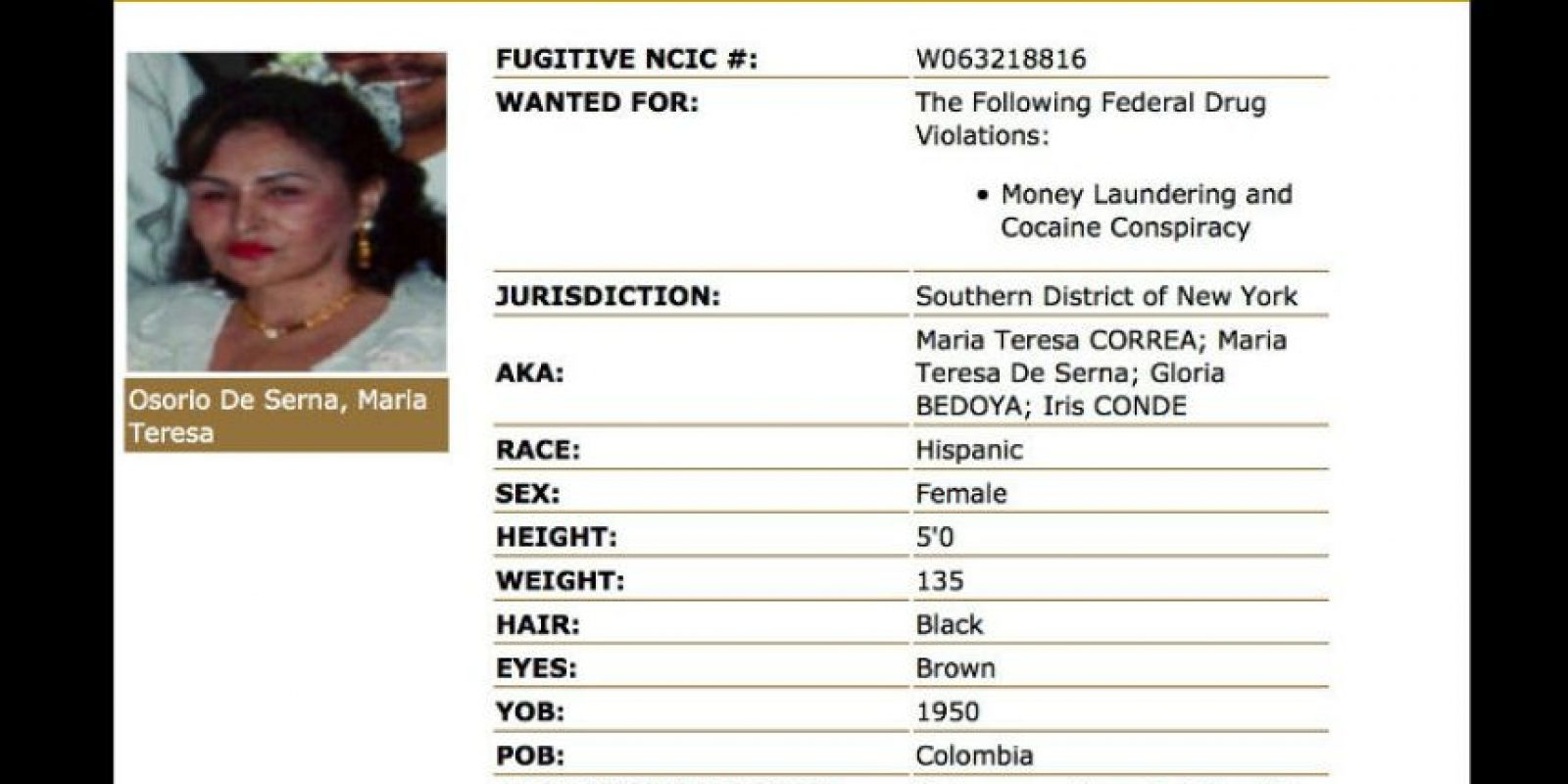 La poca información que se tiene de María Teresa Osorio resulta ser inconsistente. Foto:dea.gov