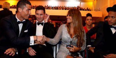 Este fue el curioso momento que protagonizaron Cristiano Ronaldo, Lionel Messi y Antonella Roccuzzo Foto:Getty Images