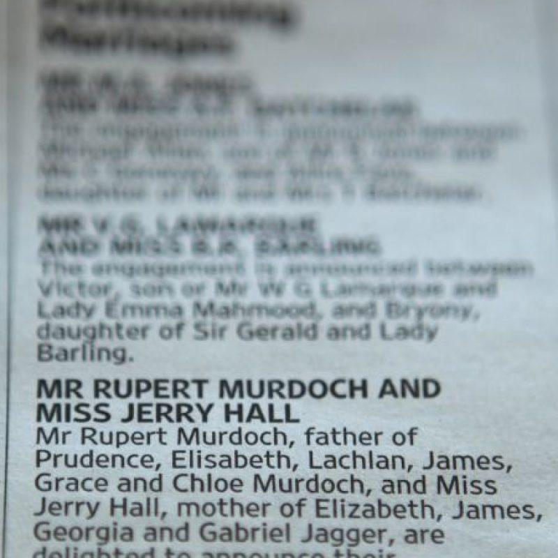 La pareja anunció su compromiso en un periódico propiedad del novio Foto:Getty Images