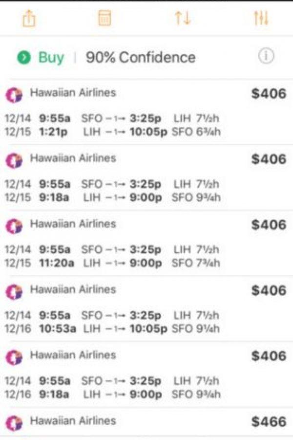 Es un buscador que ofrece predicciones de precios y alertas sobre precios económicos de vuelos. Además de reservar boletos de avión, también pueden encontrar habitaciones de hotel, alquiler de autos, hacer check-in 20 horas antes de llegar o reservar un Uber sin necesidad de salir de la aplicación. Foto:kayak.com