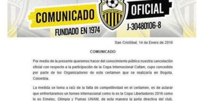 Y la imagen del falso comunicado del Deportivo Táchira. Foto:Twitter – @humocardenal