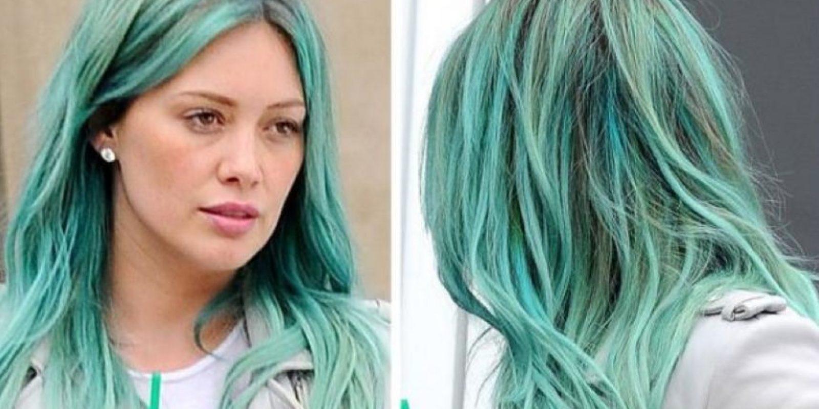 11. Hilary Duff con un azul verdoso Foto:Getty Images