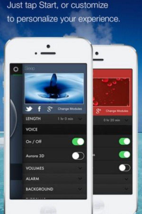 """De acuerdo con la app, los puede ayudar si tiene problemas para dormir, si están estresados o sufren por falta de energía. Pzizz genera una nueva canción cada vez que se toca en """"inicio"""", por lo que entre más la utilicen, mejor funciona. Incluye tanto modo sueño como módulos llamados Power Nap. Foto:pzizz"""