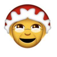 Abuela con lentes y gorro navideño. Foto:vía emojipedia.org